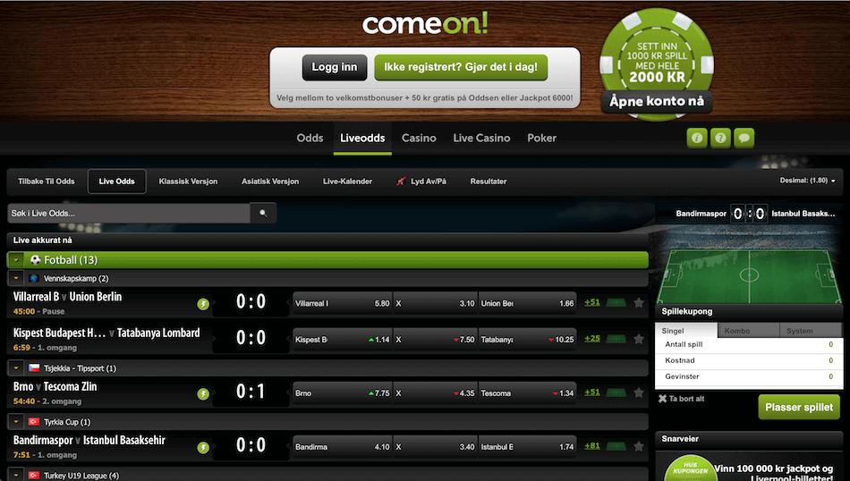 ComeOn Live odds