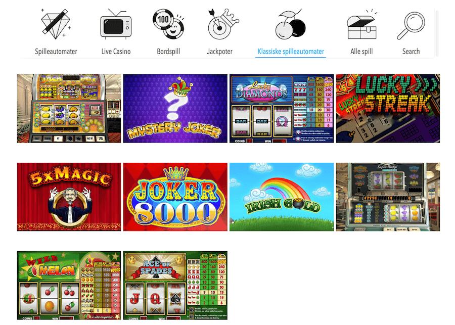 Klassiske spilleautomater Wunderino