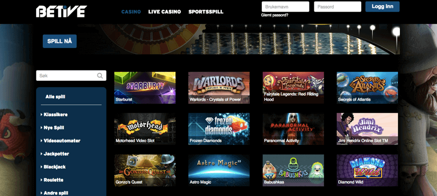 Betive Casino spill