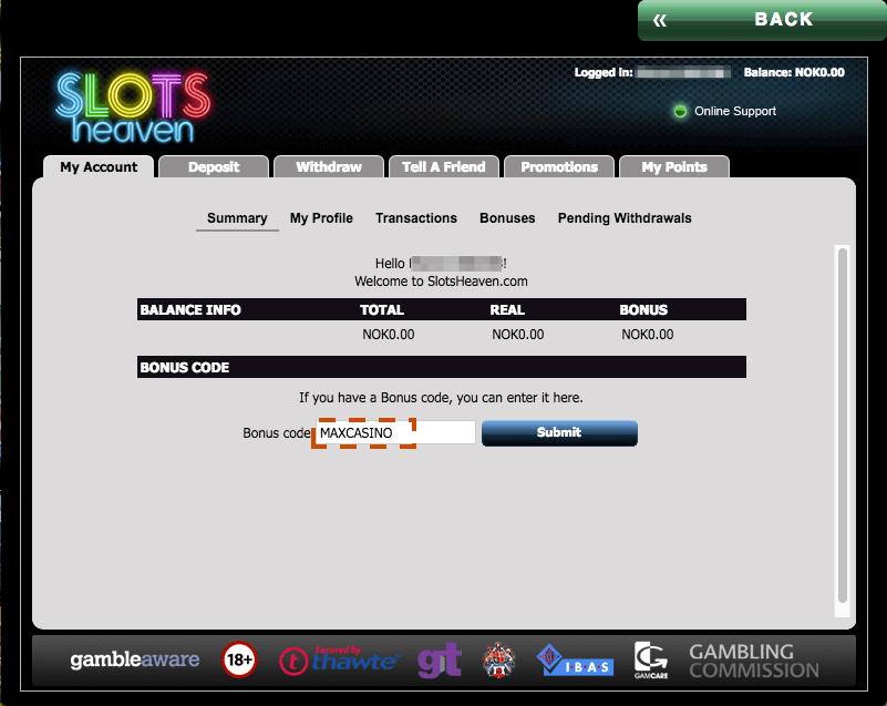 Slots Heaven bonuskode