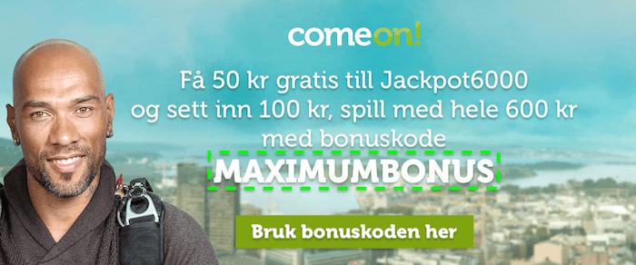 ComeOn bonus og bonuskode norge